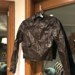 Moto cropped faux vegan pleather leather jacket